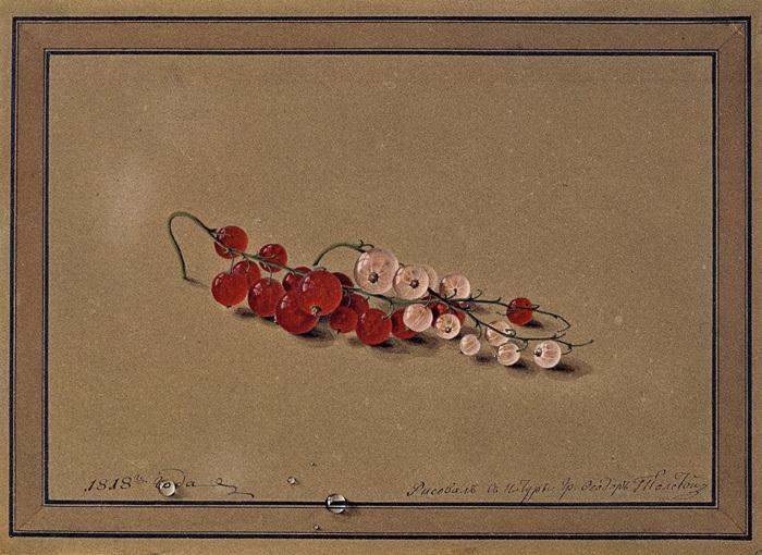 10-Федор Толстой - Ягоды красной и белой смородины. 1818 - Государственная Третьяковская галерея.jpg