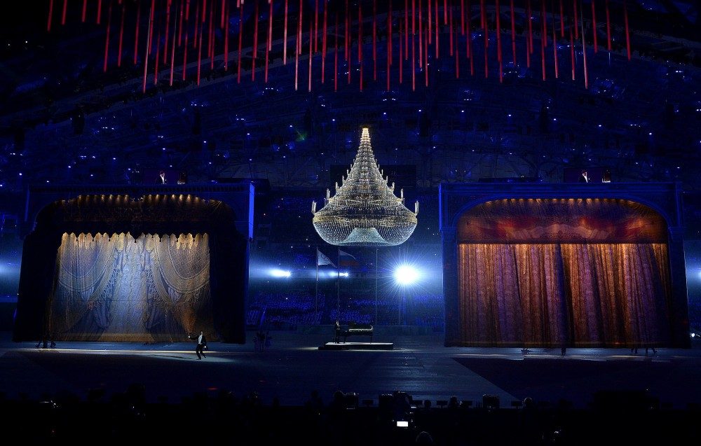 Two-giant-stages-popped-up-middle-arena-chandelier