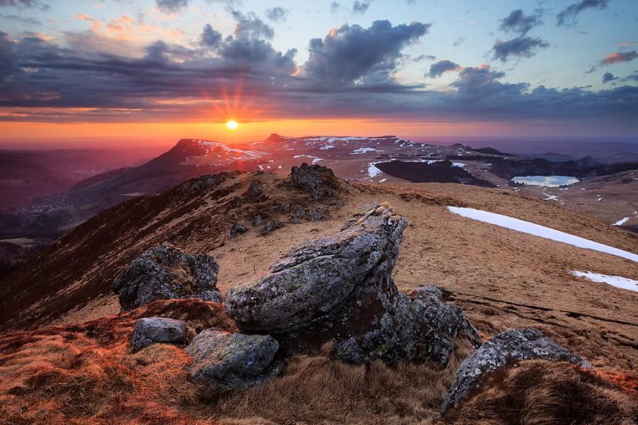 Sunset from the Puy de la Tache-XL