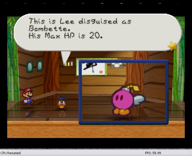 Lee has disguised himself as bombette perfectly, so his attack power