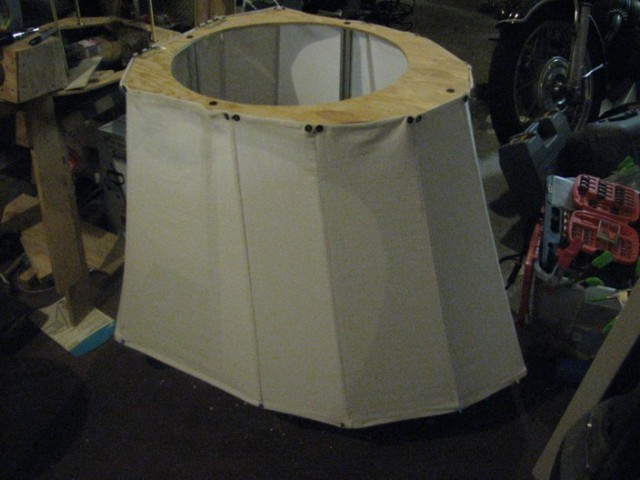 Canvas underskirt attached to the frame