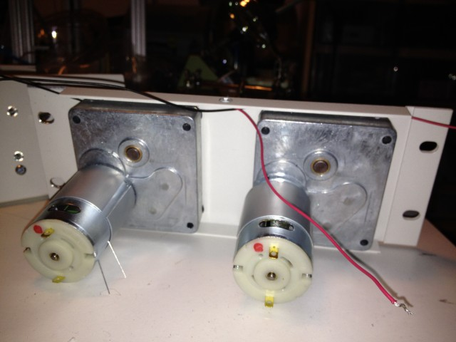 Rear view of mounted pump drives on first-try panels
