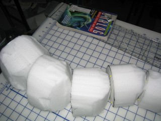 Closeup of the shaped blanks.