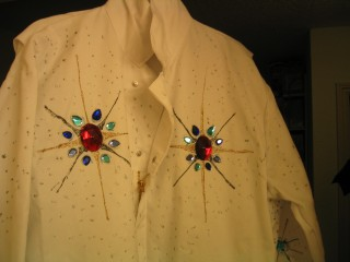 Front of jumpsuit with applied stones
