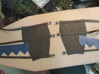 Parts cut for greaves (gaiters)