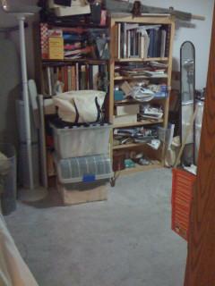 The costume bookshelves