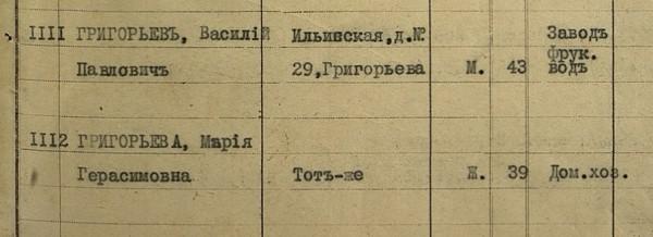 Григорьевы на 1917 год