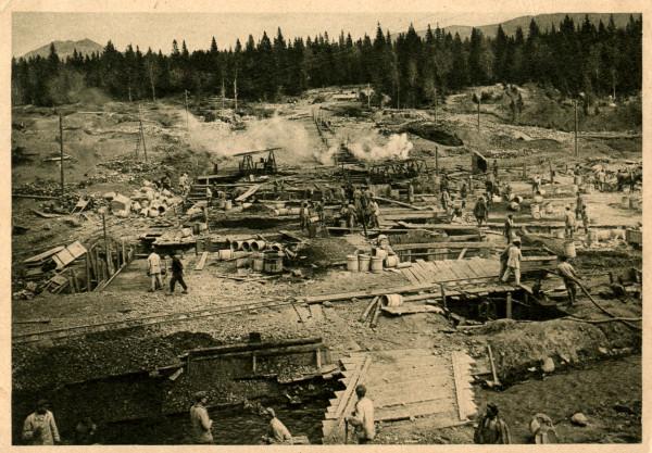 Постройка плотины для водопровода на р. Тесьме