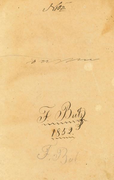 подписи (скорее всего, владельца) на корешке