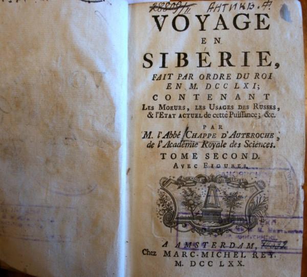 Жан Шапп д'Отерош (1722-1769). Путешествие в Сибирь