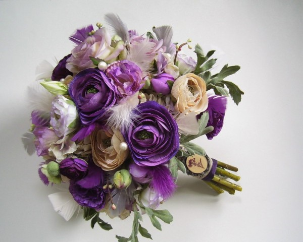 Silk-Floral-Centerpieces-With-Purple-Flowers