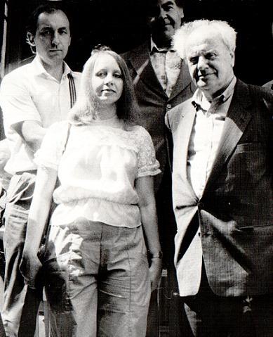 Геннадий Иванов, Нина Краснова, Евгений Долматовский, а сзади — профессор С.Д. Артамонов. 1987.