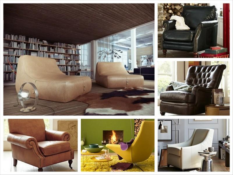 Красивые кожаные кресла для дома