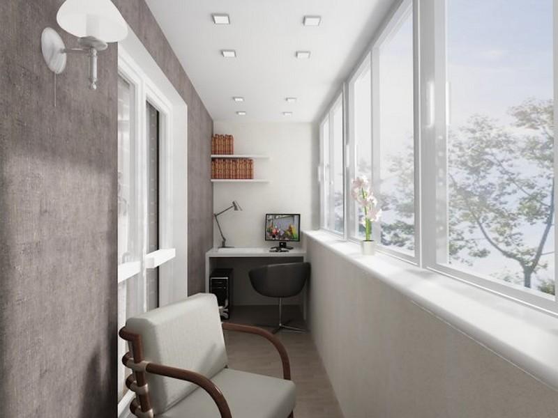Балкон в виде кабинета. - остекление лоджий - каталог статей.