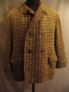09018425 Jacket Men's 1930 black green plaid wool, Large