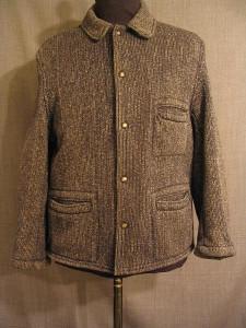 09005895 Jacket Mens 1930s, black grey stripe wool, C42