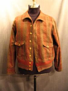 09007676 Jacket men's 1930 olive red plaid wool, Large
