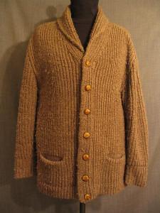 09008141 Cardigan Sweater Men's 1930s, brown wool, XL
