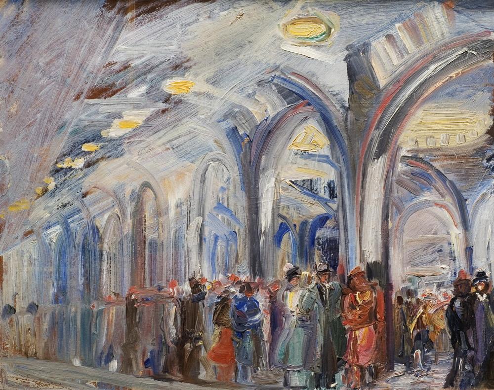Лабас В метро. 1940-е.