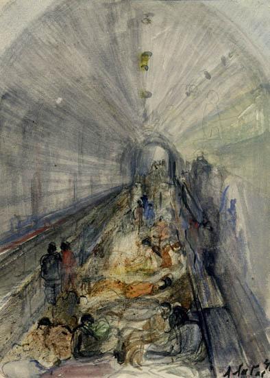 Лабас В метро. Из серии Москва и Подмосковье в дни войны 1941