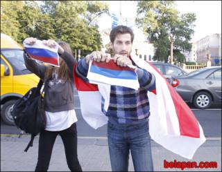 Жестокий разгон антироссийской демонстрации в Минске