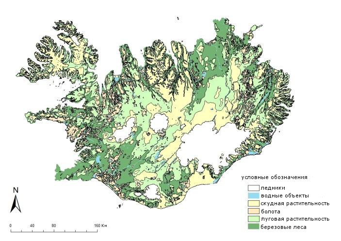 Карта растительности Исландии до эпохи Заселения.