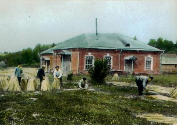 Льнодельческая станция в Городище (цветной диапозитив 1912 года)