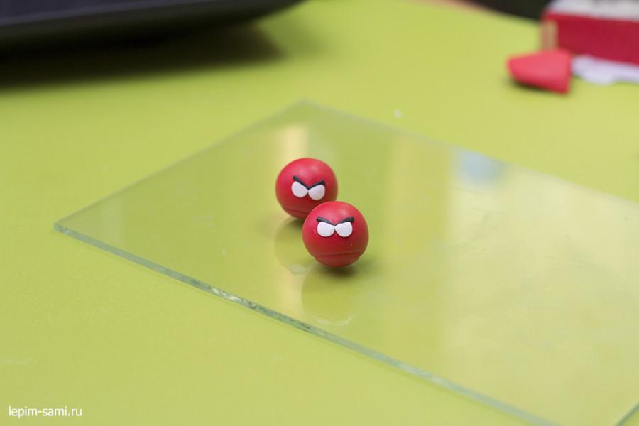 Мастер-класс сережки из полимерной глины Angry Birds
