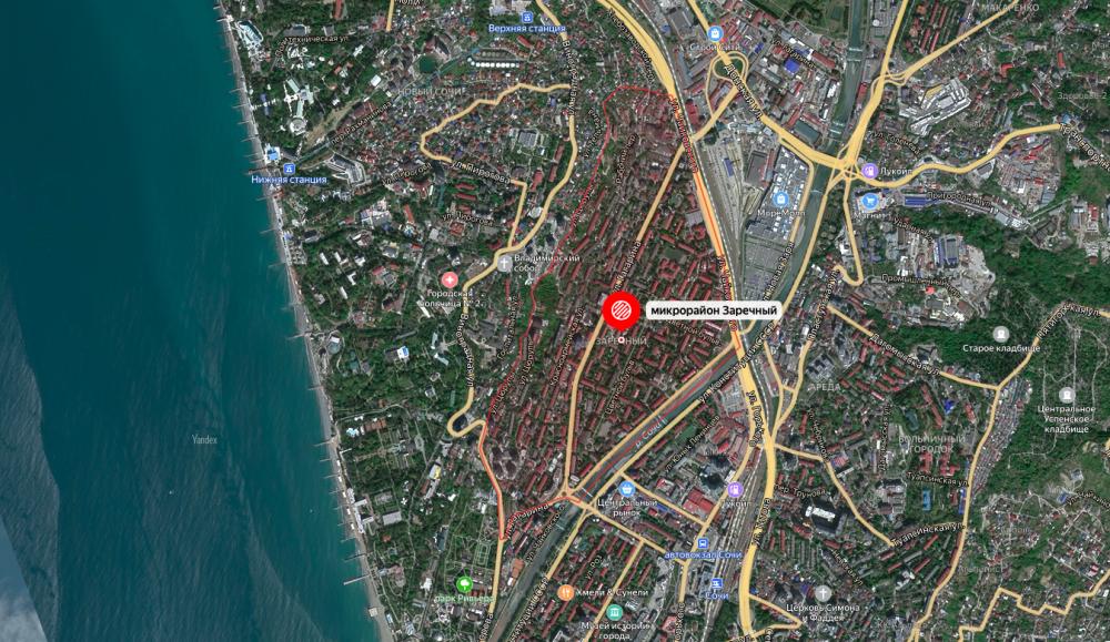 Заречный микрорайон на Яндекс-картах