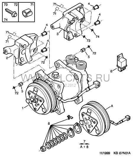 Схема компрессора кондиционера Peugeot 206
