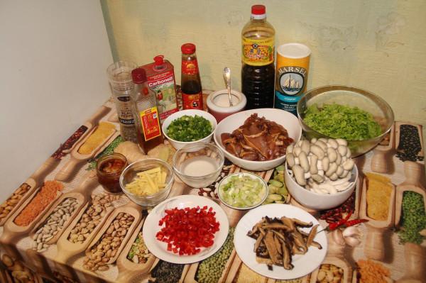 Вок стир-фрай со свининой, грибами и листовой зеленью_2