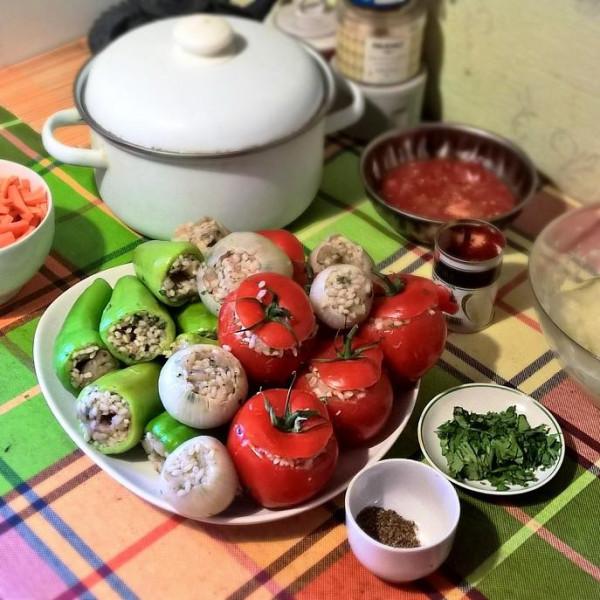 Дулма из овощей с тресковым фаршем_2