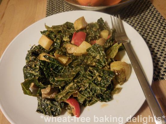 Potato and savoy cabbage casserole gluten free