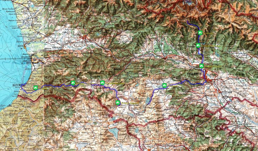 Грузия 2014 - пройденный маршрут_Обз.карта ГШ10км