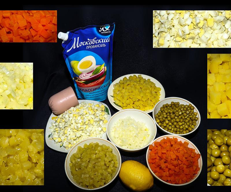Салат оливье Советский (конс. горошек и сол. огурцы)