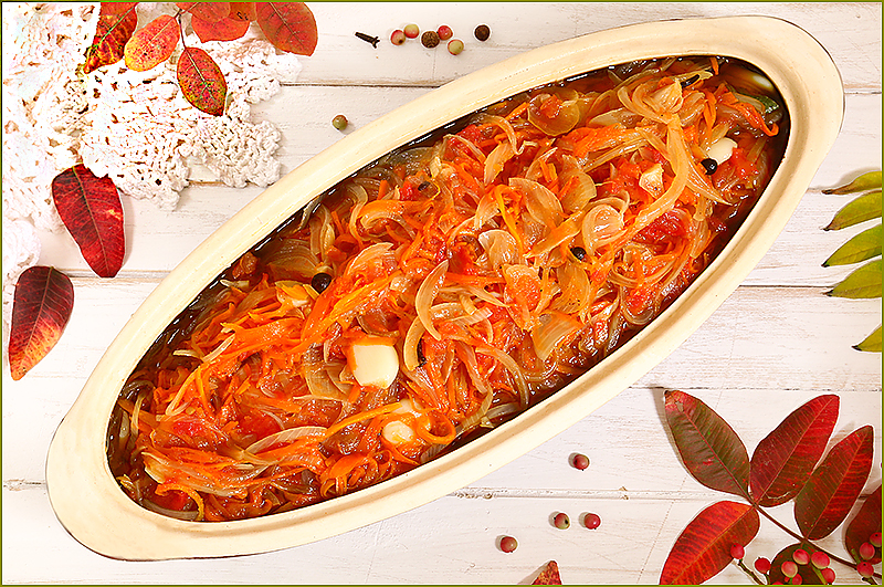 Белая рыба под овощным маринадом по старому рецепту Новороссии (конс. помидоры)