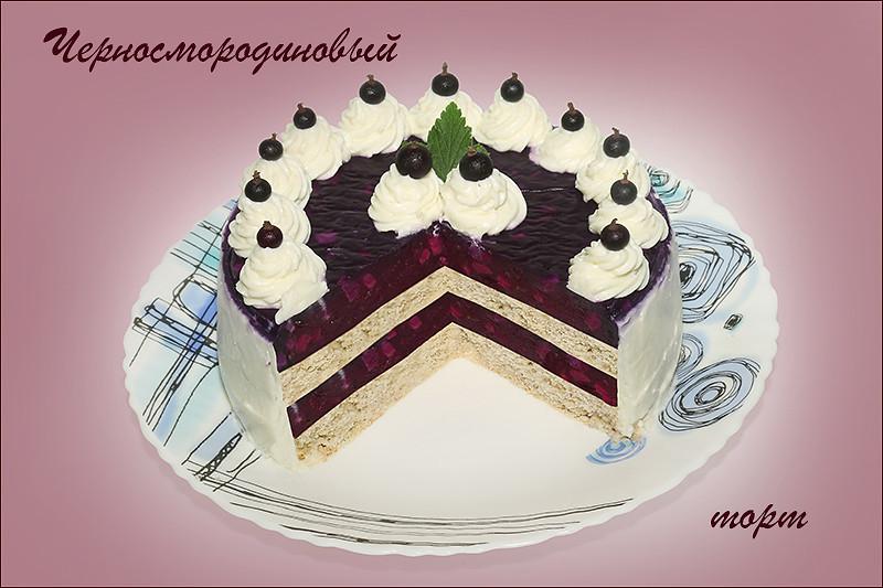 Черносмородиновый торт в японском стиле (замор. черная и красная сморродина)