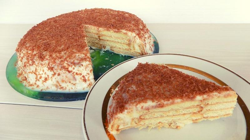 Торт без выпечки с творогом и сгущенкой