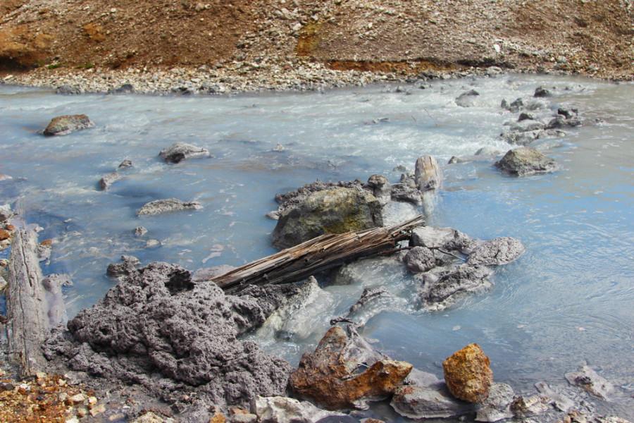 Серная пена на поверхности озера Кипящее.