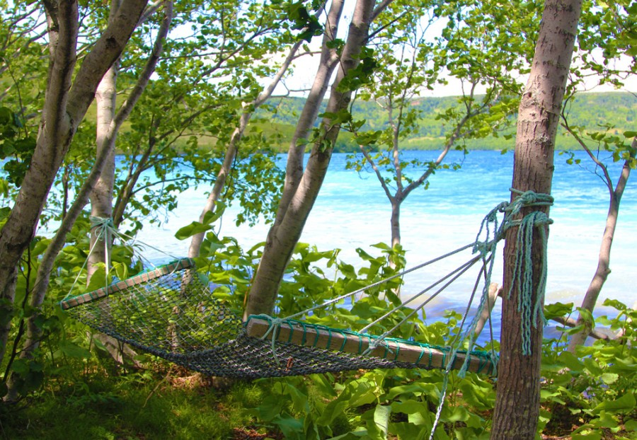 Гамак в тени деревьев около озера Горячее.