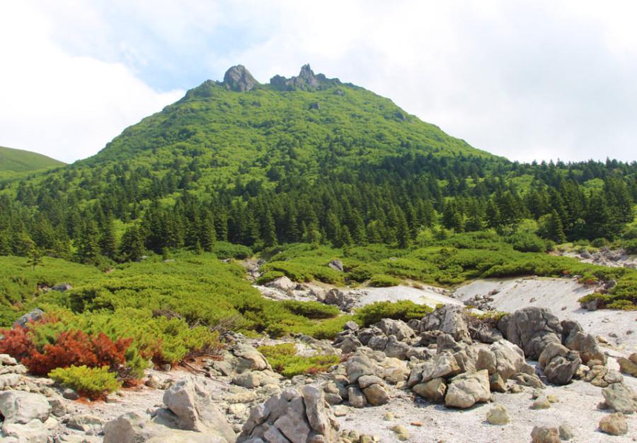 Вершина вулкана Менделеева. Вид с Северо-Западного сольфатарного поля.