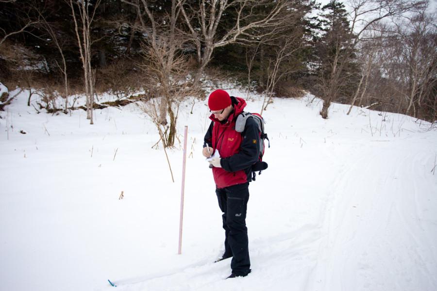 Замеры толщины снежного покрова