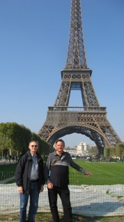 John and Kurt at la Tour Eiffel - taken by a Spanish couple - we took their picture too