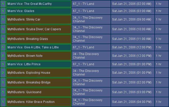 MythTV schedule