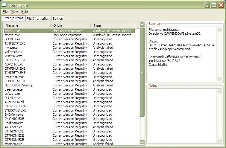Startalyzer screenshot