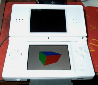 Photograph of DS Lite with spinning cube