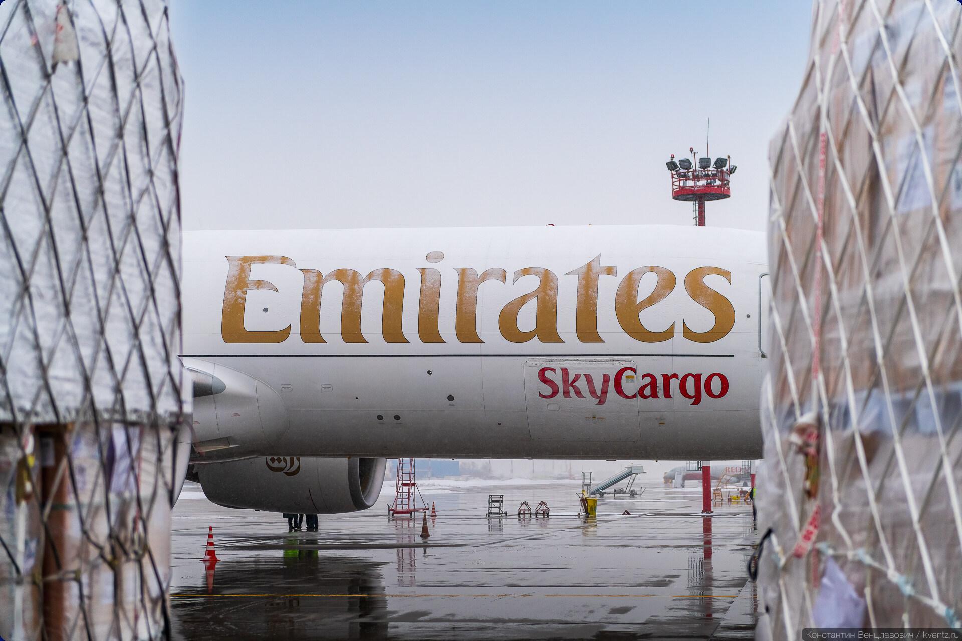 Emirates SkyCargo Boeing 777F A6-EFJ в аэропорту Домодедово.