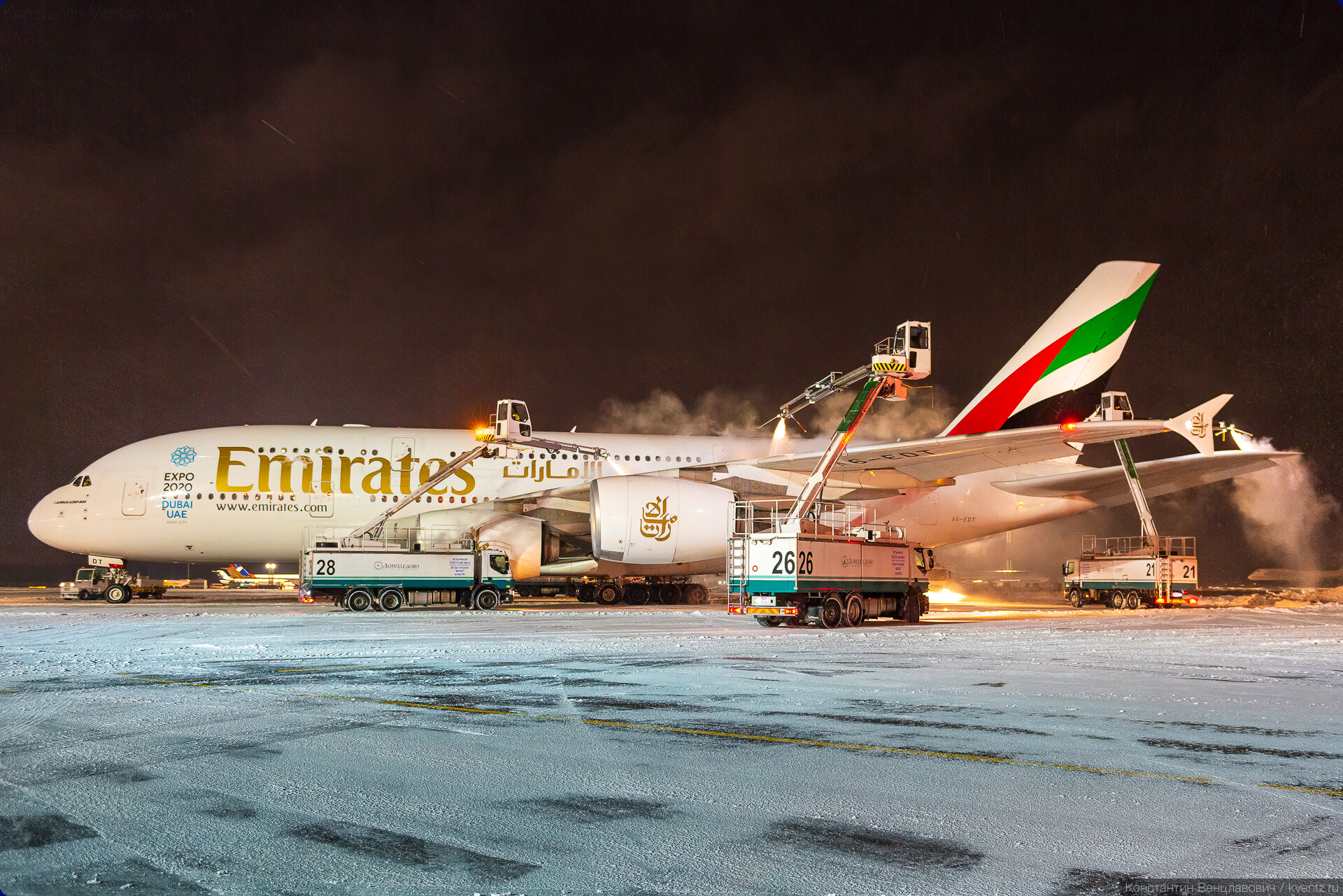 08. Обработка Airbus A380 A6-EDT Emirates.