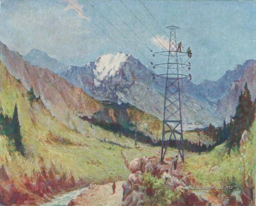 Тансыкбаев Урал Тансыкбаевич (1904-1974) «Проводка высоковольтной линии» 1952