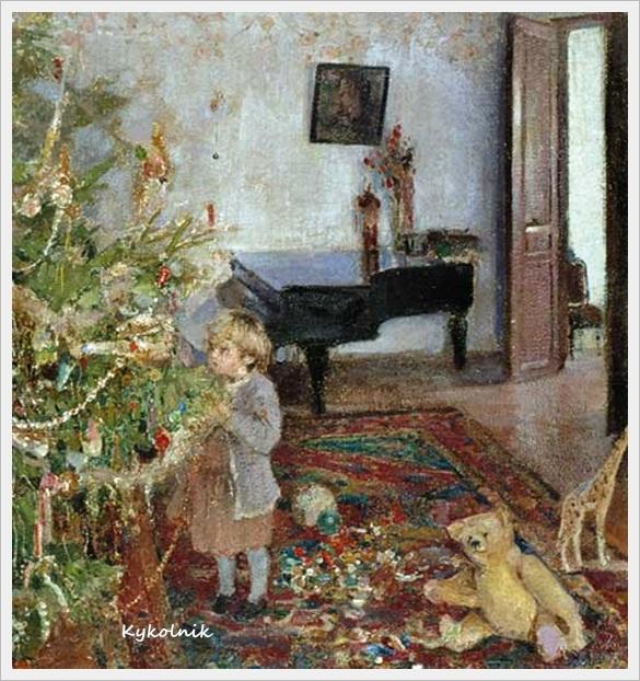 Беньков Павел Петрович (1879-1949) «Дочь Наташа под ёлкой»